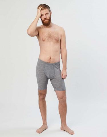 Boxer en laine mérinos avec braguette élastique pour homme Mélange de gris