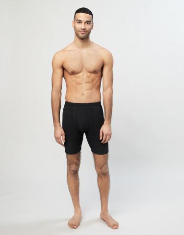 Boxer en laine mérinos avec braguette élastique pour homme Noir