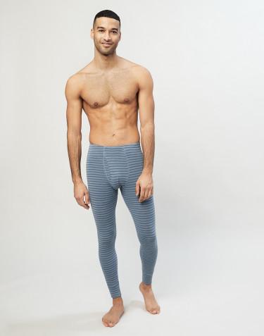 Legging en laine mérinos avec braguette bleu rayé