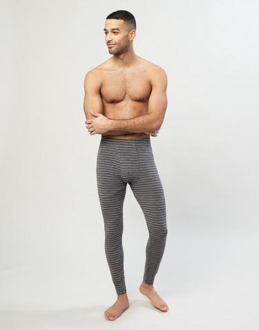 Legging en laine mérinos avec braguette élastique pour homme gris rayé