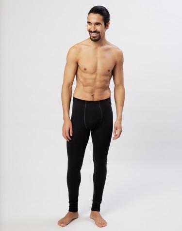 Legging en laine mérinos avec braguette élastique pour homme Noir