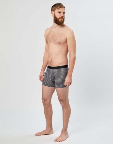 Boxer en laine mérinos pour homme gris rayé