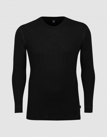 T-shirt à manches longues en laine pour homme grande taille noir