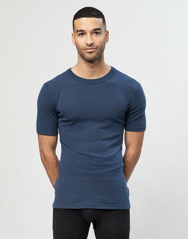 Tee-shirt en laine mérinos côtelée pour homme Bleu pétrole