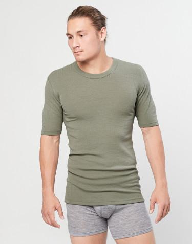 Tee-shirt en laine mérinos côtelée pour homme Vert olive
