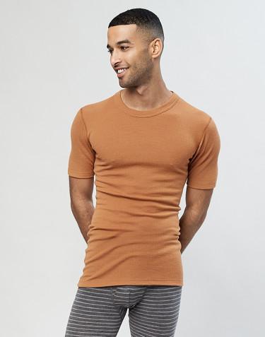 T-shirt en laine mérinos côtelée pour homme caramel