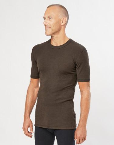 T-shirt en laine mérinos côtelée pour homme chocolat noir