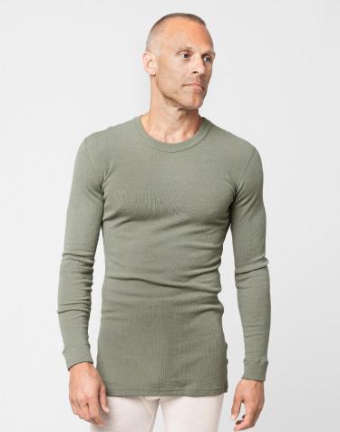 Tricot de peau à manches longues en laine mérinos côtelée, pour homme Vert olive