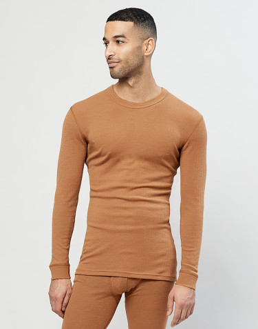 T-shirt à manches longues en laine mérinos côtelée pour homme caramel