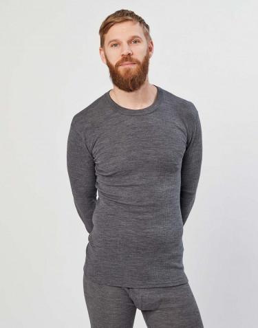Tricot de peau pour homme, en laine mérinos côtelée mélange de gris foncés
