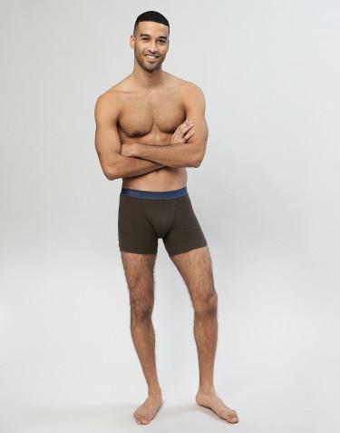 Boxer pour homme en laine côtelée chocolat noir