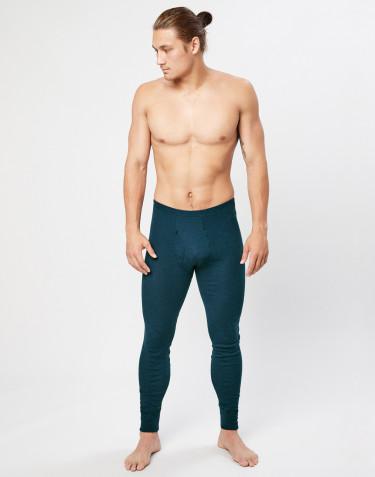 Legging en laine mérinos avec braguette élastique pour homme Bleu pétrole