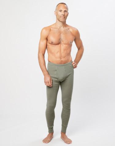 Legging en laine mérinos avec braguette élastique pour homme Vert olive