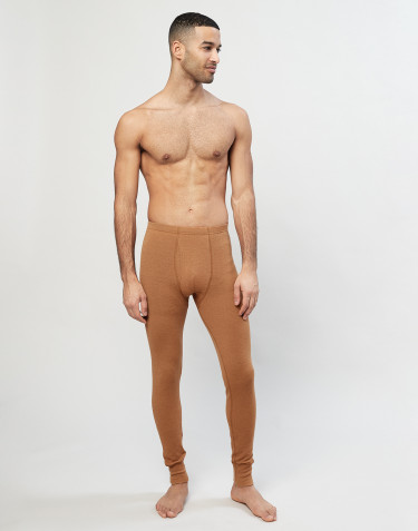 Legging pour homme en laine côtelée avec braguette élastique caramel
