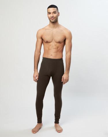 Legging pour homme en laine côtelée avec braguette élastique chocolat noir