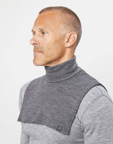 Cache-cou pour homme en laine côtes larges mélange de gris foncé