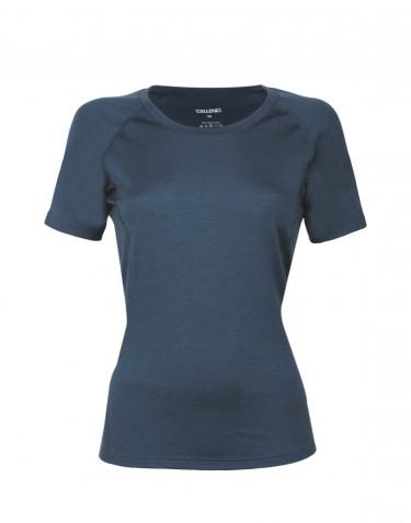 Tee-shirt en laine pour femme - laine mérinos exclusive Bleu foncé