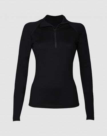 T-shirt demi zip à manches longues pour femme, en laine mérinos exclusive noir
