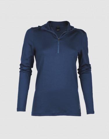 T-shirt à manches longues avec capuche pour femme - laine mérinos exclusive bleu foncé