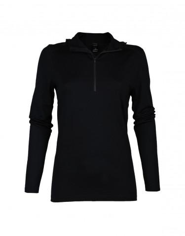 T-shirt à manches longues avec capuche pour femme - laine mérinos exclusive noir