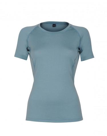 Tee-shirt en laine pour femme - laine mérinos exclusive Bleu minéral