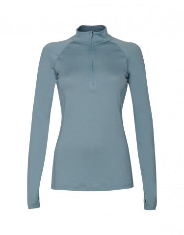 T-shirt à manches longues et demi-zip pour femme - laine mérinos exclusive bleu minéral