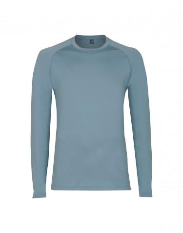 T-shirt à manches longues en laine mérinos exclusive pour homme, bleu minéral