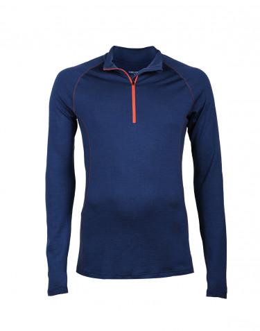 T-shirt à manches longues et demi-zip pour homme - laine mérinos exclusive bleu foncé