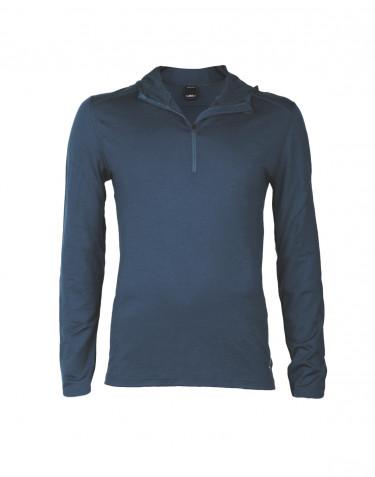 T-shirt à manches longues avec capuche pour homme - laine mérinos exclusive bleu foncé