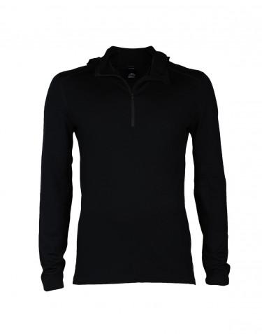 T-shirt à manches longues avec capuche pour homme - laine mérinos exclusive noir