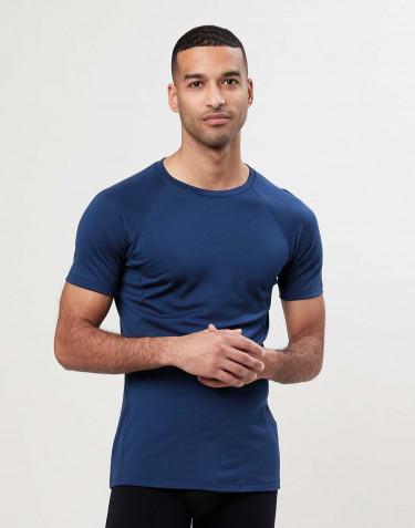 T-shirt en laine pour homme - laine mérinos exclusive Bleu foncé