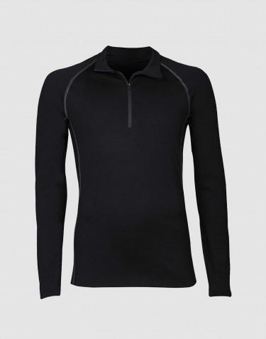 T-shirt à manches longues et demi-zip pour homme - laine mérinos exclusive noir