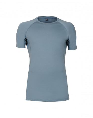 T-shirt en laine pour homme - laine mérinos exclusive Bleu minéral