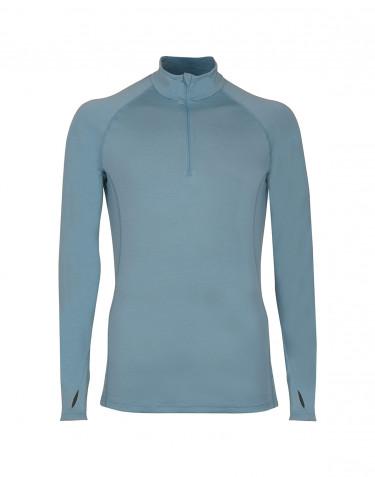 T-shirt à manches longues et demi-zip - laine mérinos exclusive bleu minéral