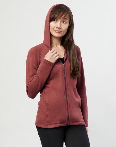 Sweat à capuche et fermeture éclair, en tissu éponge de laine Rouge