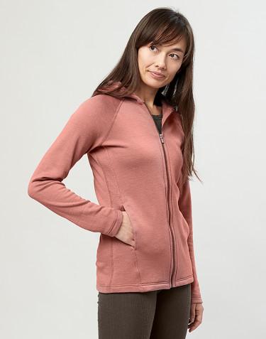 Sweat à capuche et fermeture éclair, en tissu éponge de laine rose