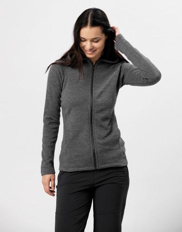 Sweat à capuche et fermeture éclair, en tissu éponge de laine Mélange de gris foncés