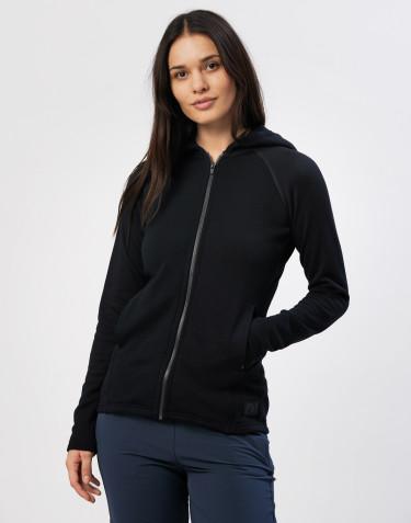 Sweat à capuche et fermeture éclair, en tissu éponge de laine Noir