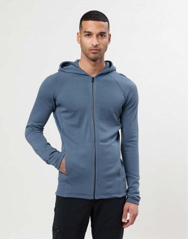 Sweat à capuche en tissu éponge de laine avec poches Bleu pigeon