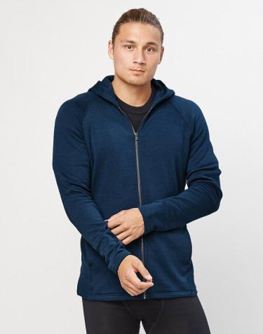 Sweat à capuche en tissu éponge de laine avec poches, bleu pétrole