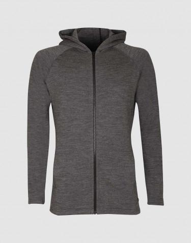 Sweat à capuche en tissu éponge de laine avec poches, mélange de gris foncés