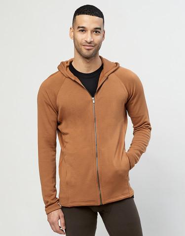 Sweat à capuche en tissu éponge de laine avec poches Caramel
