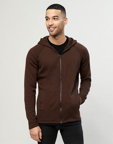 Sweat à capuche en tissu éponge de laine avec poches Chocolat noir