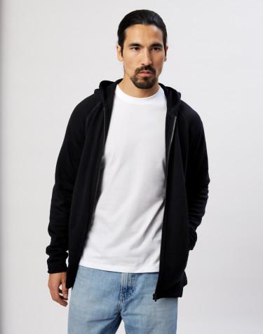 Sweat à capuche en tissu éponge de laine avec poches Noir