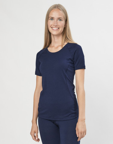T-shirt pour femme - laine mérinos exclusive bio bleu marine