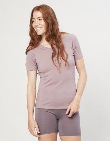 T-shirt pour femme - laine mérinos exclusive bio vieux rose