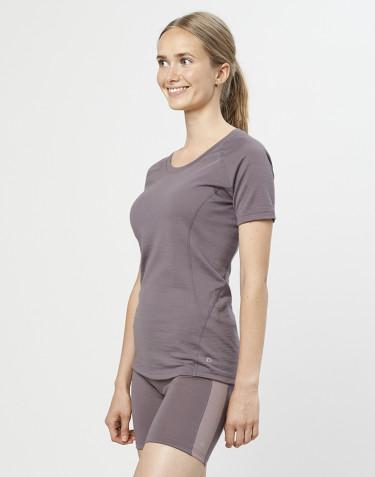 T-shirt pour femme - laine mérinos exclusive bio gris lavande