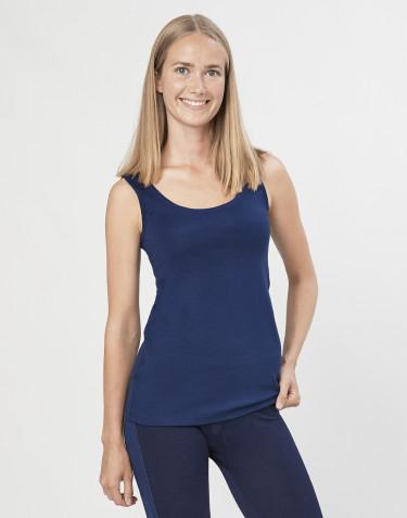 Débardeur pour femme, en laine mérinos exclusive bio bleu marine