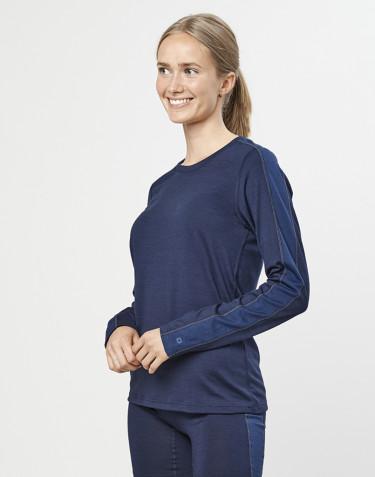 T-shirt à manches longues en laine mérinos exclusive bio bleu marine