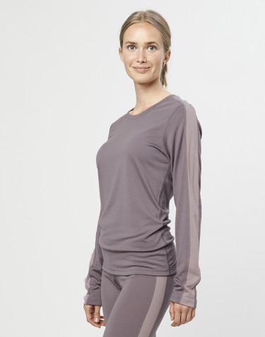 T-shirt à manches longues en laine mérinos exclusive bio gris lavande